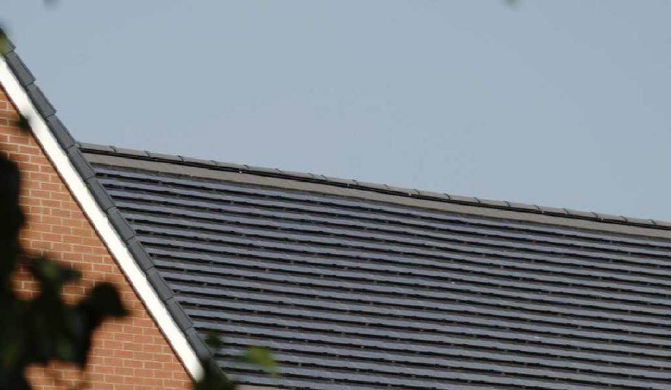 PV slates are installed in the same overlapping style as traditional roof